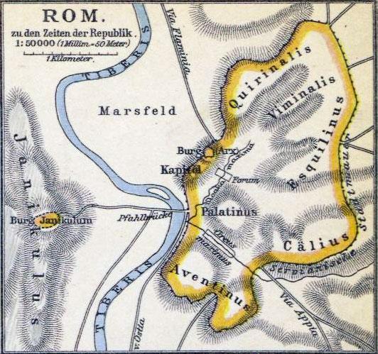 Karte von Rom in der Zeit der Republik