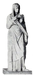 Zeichnung einer Römerin in einer Palla