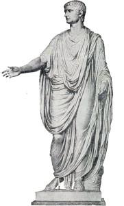 Zeichnung eines römischen Bürgers in einer Toga