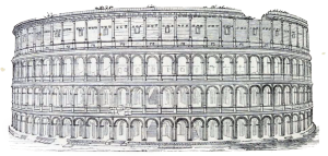 Das Kolosseum (antiker Name: Amphitheatrum Novum oder Amphitheatrum Flavium) ist das größte der im antiken Rom erbauten Amphitheater und der größte geschlossene Bau der römischen Antike. Es wurde zwischen 72 und 80 n. Chr. erbaut, und ist noch heute eines der Wahrzeichen der Stadt und zugleich ein Zeugnis für die hochstehende Baukunst der alten Römer.