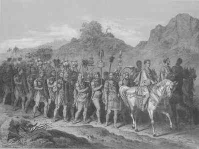 Marschierende römische Soldaten