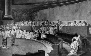 Sitzung des Senats, die nicht in der Kurie sondern im Tempel stattfand
