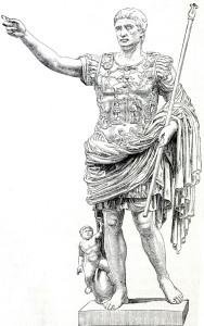 Imperator Octavius Augustus  (geb. 23. September 63 v. Chr. als Gaius Octavius in Rom, gest. 19. August 14 n. Chr.) gilt als erster römischer Kaiser