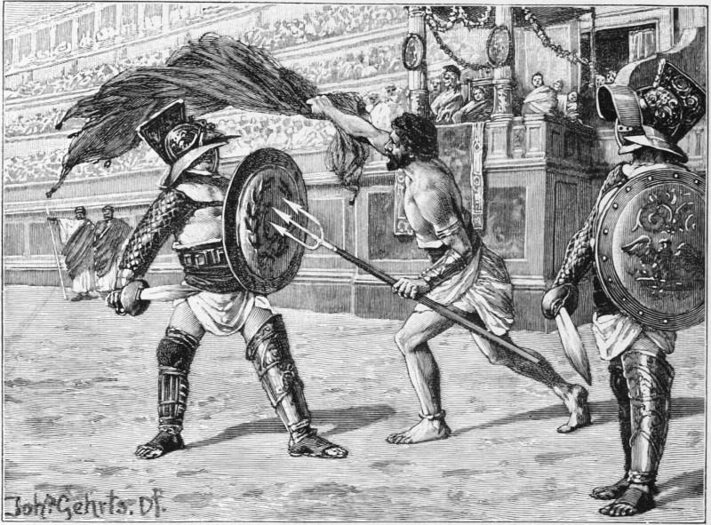 Gladiatorenkampf zwischen einem Gladiator (Schwertkämpfer) und einem Retiarius (Netzkämpfer)