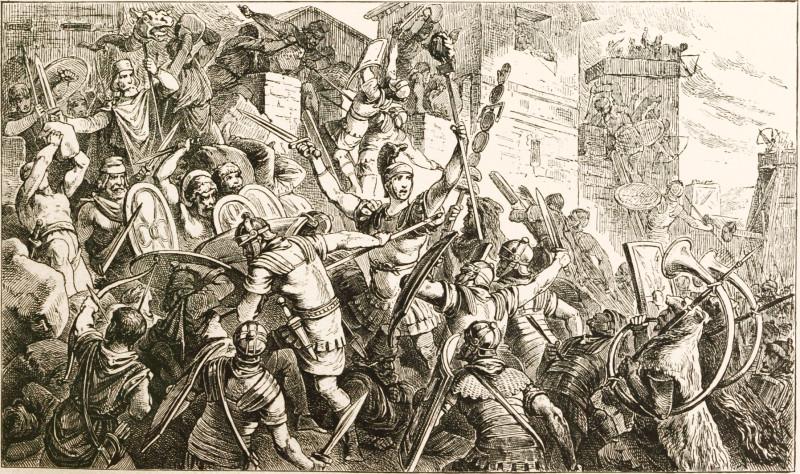 Römische Soldaten fallen in einer Stadt ein
